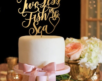 Wedding Cake Topper - Two Less Fish in the Sea Wedding Cake Topper - Gold Cake Topper