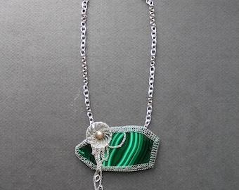 EL CUENTO Malachite Statement Bib Necklace - Silver Wire Crocheted Necklace - Green Natural Gem Necklace - Unusual Unique Organic  Necklace