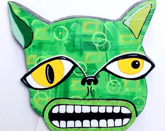"""Outsider Folk Art Cat Head, Ugly Cat #4"""", Comical Hand Painted Cat Wall Hanging, Abstract Cat Wood Wall Art, Outsider Cat by Windwalker Art"""