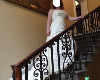 Marylise from Belgium size 46 (UK size 16) ivory silk pleated dress