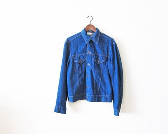 Vintage Denim Jacket / 70s Blue Jean Jacket / 1970s Mens Denim Jacket Large