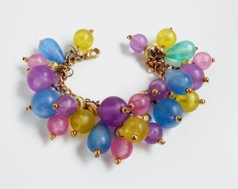Vintage Bead Bracelet Large Multi Color Bauble Charm Beads Pink Purple Blue Yellow, Gold Chain, Chunky Beaded Bracelet