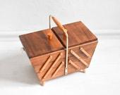 60s sewing basket, sewing box, knitting basket, knitting box, jewelry box, jewelry organizer