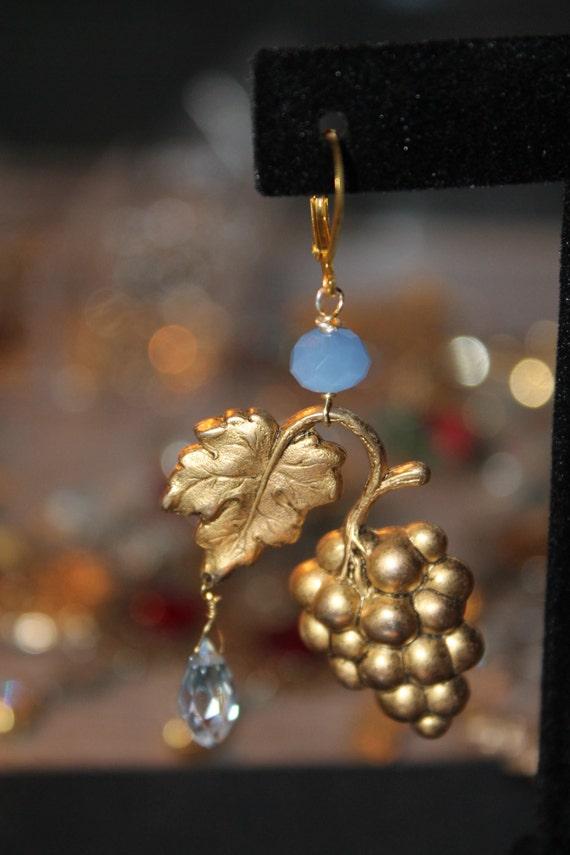 "Dangle Earrings ""Grapes"" Vintage assemblage Repurposed, Brass Stampings, Faceted Crystals, OOAK"