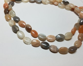 Multicolor Moonstone Smooth Oval Beads 13mm to 14mm