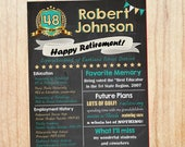 Retirement Chalkboard sign. PRINTABLE. Retirement party decorations. Happy retirement. Work History poster. retirement keepsake