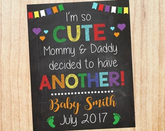 Big Sister Pregnancy Announcement Sign. big brother new baby announcement chalkboard poster i'm so cute another second child sibling