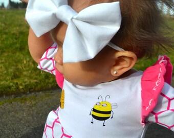 White Bow, Baby Headband, nylon headband, baby bow