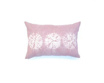 Blush Pink Shibori Pillow Cover with Circle Design Dusty Rose Pillow Cover Decorative Throw Pillow 14 x 20 Light Pink Cushion Cover