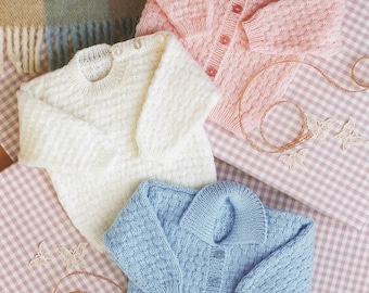 PDF, Instant Download, Baby Knitting Pattern Cardigans and Sweater/Jumper using Dk/8ply wool