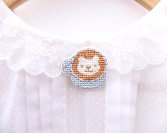 SALE: Teddy Bear latte art cross stitch pin, gifts for her, white bear, coffee lovers