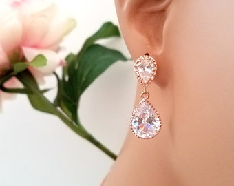 ROSE GOLD EARRING, Wedding Earrings, bridesmaid gift, bridal Earrings, cubic zirconia ,Clear, Studs Earrings, post earrings, Christmas Gift