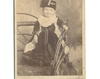antique sepia cabinet card portrait photo toddler girl in fancy clothes