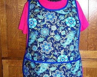 Floral Paisley Cobbler Apron - Plus Size Blue Cobbler Apron - Fits Sizes XL up to 3XL