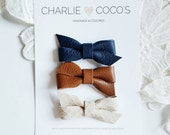 "Baby / Girls Leather Bow Headband, Leather Hair Bow Clip, Genuine Leather Baby Bows, Baby Hair Clip Set, Baby Headband Set ""Twisty Neutrals"""