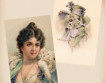 Victorian Lady - 2 New 4x6 Vintage Postcard Image Photo Prints - IL045-VI05