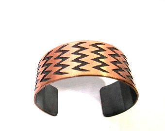 Modern Chevron Copper Bracelet Cuff, Zig Zag Cuff, Chevron Cuff, Copper Jewelry, Etched Jewelry, Chevron Jewelry, Ready to Ship, Gift Idea