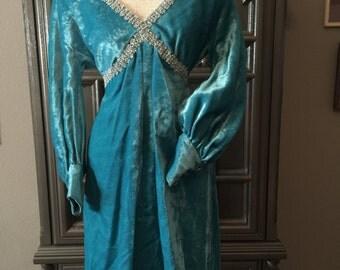 60s ELSA Blue Velet Party Dress