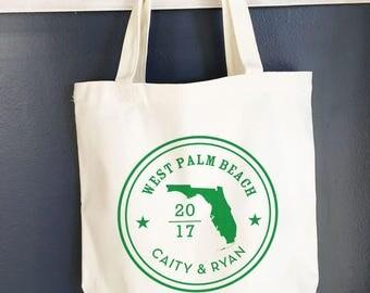 Florida Tote bag, destination tote bag, wedding tote bags, wedding hotel gift, beach tote, florida welcome beach bag, FREE SHIP - 100 bags