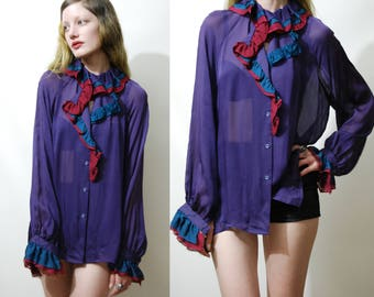 70s Vintage SILK SHIRT Romantic Victorian Edwardian High Ruffle Collar Puff Sleeve Poet Blouse Sheer Purple Boho Bohemian Hippie 1970s vtg M
