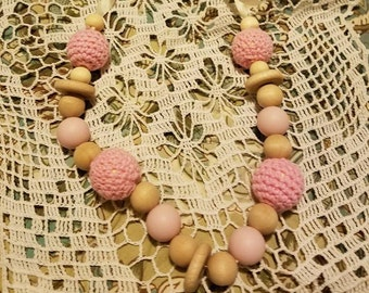 Beautiful Pink Silicone, Crochet, Wooden Bead Nursing and Teething Necklace for Baby and Mommy