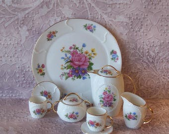 Adorable Vintage Miniature Ceramic Pink Rose and Gold Gilded 10 Piece Tea Set with Padded Storage Box