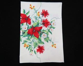 Wilendur Tablecloth - 1950s Kitchen Tablecloth - Free Shipping - Aster Tablecloth  - Red Floral Tablecloth - Glamping  Glamper - 5TTT17