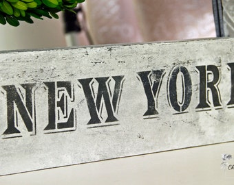 Reclaimed Wood Sign, Hand Painted Wood Sign, New York Wood Sign