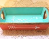 Wooden Love Arrow Tray Mint Coral Gold Jewelry Tray Vanity Tray Key Dish Heart Hand Painted READY TO SHIP
