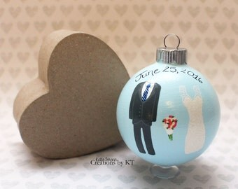 Custom Wedding Christmas Ornament MADE TO ORDER Hand Painted Wedding Gift Glass Bauble Anniversary Gift Our First Christmas Ornament
