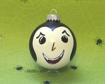 Vampire Dracula Ornament MADE TO ORDER Halloween Hand Painted Classic Monster Glass Bauble
