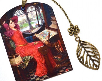 Mini Bookmark with Bronze Pendant - Waterhouse - Pre-Raphaelite Painting - The Lady of Shalott - Handmade