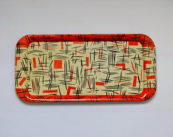 Mid-Century Patterned Tin Serving Tray