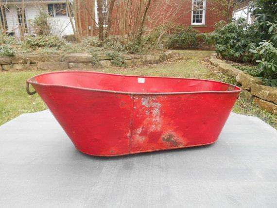 antique tin baby bathtub bath tub metal red handles on ends. Black Bedroom Furniture Sets. Home Design Ideas