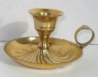 Vintage Small Brass Candlestick Holder -  Retro Candle Decor - India