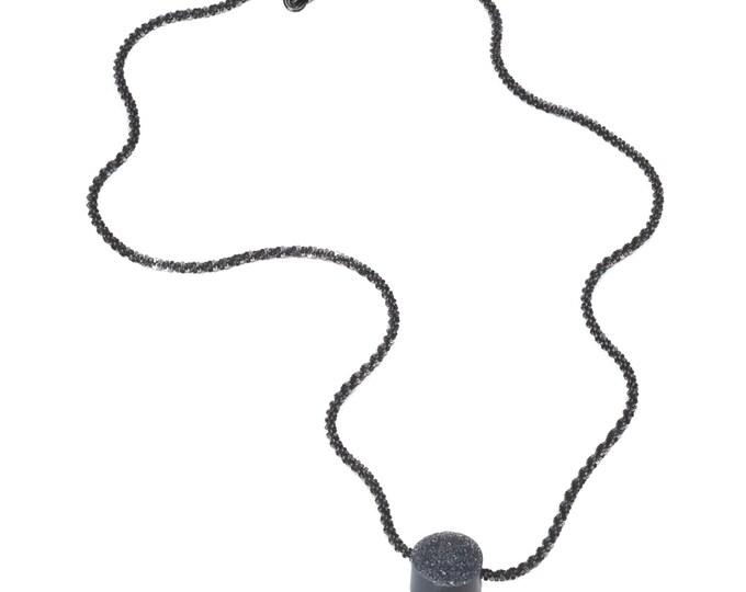 Necklace, 925 Silver, black rutheniert, Crystal occupied Onyx, black.