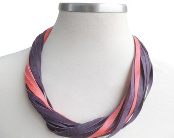Strand Leather Necklace, Purple Orange Colorful Leather Bib Necklace, Neck Wrap, Leather Jewellery for Her
