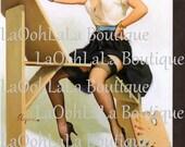 1958 Alluring Atelier Artist Digital Pin-Up Art Gallery Exhibit Event Announcement Easel Painter Palette Teacher Gift Studio Invite Download