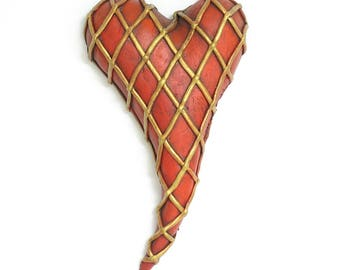 """Heart, ceramic wall art, Jacquline Hurlbert, one of a kind, unique, title: """"Safety Net"""""""