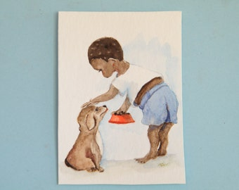 African child,  little boy and dog,  original watercolor,  aceo sized art,  miniature painting
