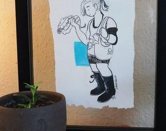 Gardener witch original illustration