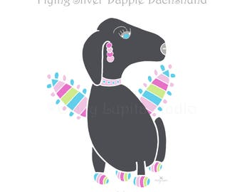 "Illustration Art Print ""Flying Dachshund"" / Dog Puppy Pet Portrait / Doxie Wall Art / Nursery Baby Shower Gift / Pet Memorial Loss"