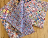 1940's Feed Sack Baby Quilt, Feed Sack, Grain Sack, Flour Sack, 1940's, Quilt, Baby Quilt, 1930's, Blue, Patchwork, Baby, Heirloom