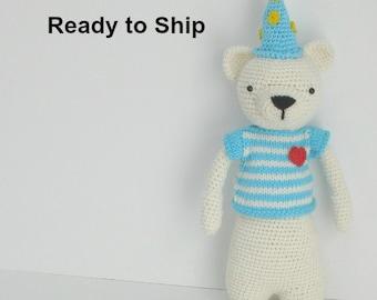Gift Bear - Birthday Gift - Gift for Woman - Kids Gift - Crochet Teddy Bear - Gift for Girl - Bear Stuff Animal - Child Gift - White Bear