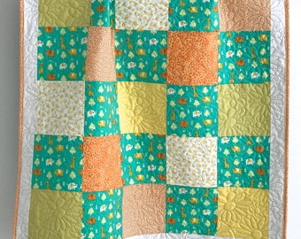 Modern Patchwork Baby Girl Quilt featuring Zoo Animals Yellow Citron Aqua Orange