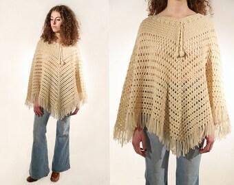 Vtg 70s Crochet Knit Fringe Poncho