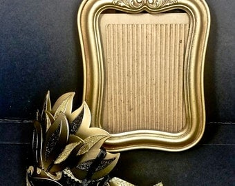 Art Nouveau Frame 8x10 Marked IICO Made in USA 1972 P no 1429L Intercraft Satin Antique Gold Tone