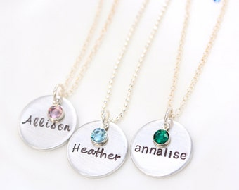 Faceted Birthstone Necklace, Handstamped Name Necklace, Jewelry For New Mom, Baby Name Jewelry, Birthstone Necklace with Birthdate