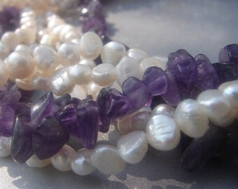 Freshwater Pearl and Amethyst Bead Necklace 427.