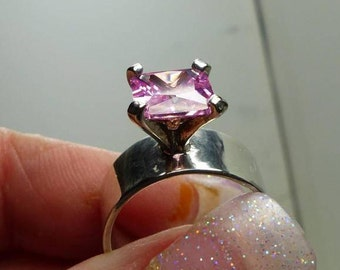 Wide band Sterling Silver Pink CZ ring- 5.7 grms-8mm wide, hallmarked- CZ stand up off shank 9mm high-stone 7X7mm SM 1898